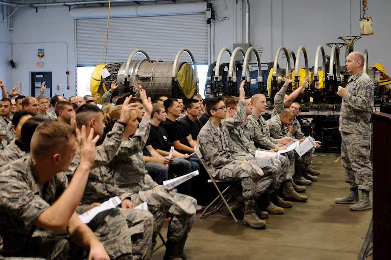 U.S. Air National Guard Command Chief Master Sgt. James W. Hotaling speaks with 144th Fighter Wing's junior enlisted Airmen during an all call held at the Fresno Air National Guard Base, Calif., July 13, 2014. Airmen were given the opportunity to interact with Chief Hotaling and ask him any questions they had about the Air Force and the Air National Guard.  (U.S. Air National Guard photo by Airman 1st Class Klynne Pearl Serrano/Released)
