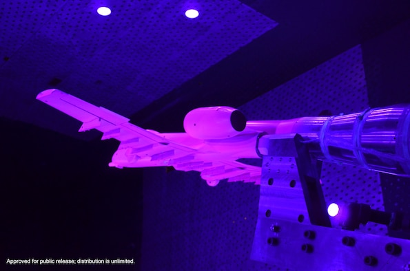 "A model of an A-10 Thunderbolt II, more commonly known as ""The Warthog"" due to its unique shape, recently underwent a pressure-sensitive paint (PSP) test in Arnold Engineering Development Complex's (AEDC) 16-foot transonic wind tunnel. PSP was used to obtain surface pressure data on the model. The photo above shows a rear view of the A-10 model during testing in 16T. The A-10 is the only U.S. Air Force aircraft designed to be specifically used for close air support. The aircraft is notorious for its maneuverability at low speeds and low altitudes and its accurate weapons delivery."