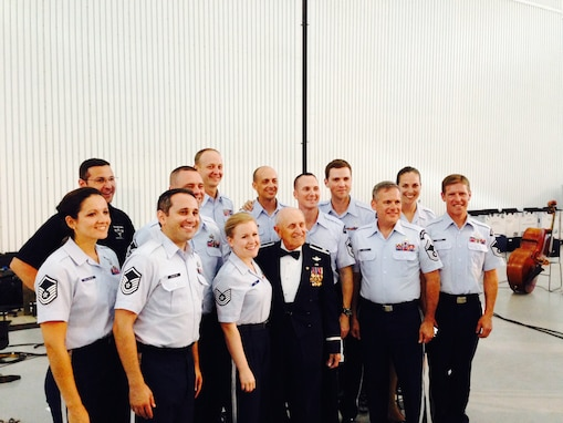 Retired Air Force Col. Bob Shawn poses with members of Celtic Aire and Silver Wings after their recent performance at the Smithsonian's Udvar-Hazy Center in Chantilly, Va. (Photo by Mali Wong-Warren/released)