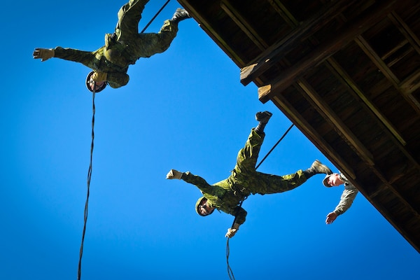 Two Canadian army soldiers from the 36th Canadian Brigade Group out of Nova Scotia, Canada, jump off the side of a rappelling tower with the encouragement of Army Staff Sgt. Matthew T. Woyansky, an infantry air assault instructor, assigned to the Virginia National Guard's 1st Battalion, 183rd Regiment, Regional Training Institute, at Fort Pickett, Va., Feb. 21, 2012. The Canadian troops were participating in the joint-annual exercise, Southbound Trooper.