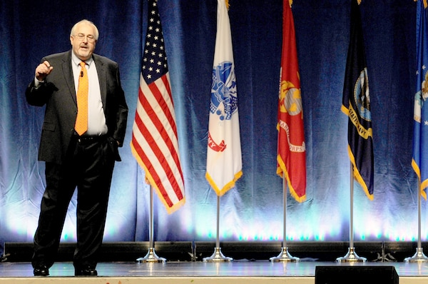 Craig Fugate, administrator of the Federal Emergency Managment Agency, addresses attendees at the 2012 Domestic Preparedness Workshop at the Gaylord National Harbor Convention Center near Washington, D.C., on Feb. 23, 2012. Fugate touched on a re-tooling of the national disaster response strategy to ensure a streamlined process for response assests to get to the disaster site.