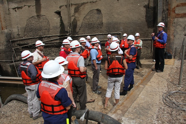 The recently dewatered Elizabeth lock on the Monongahela River made for an interesting and relevant backdrop for the U.S. Army Corps of Engineers Pittsburgh District's discussion about the need to sustain the nation's inland waterways, July 18.