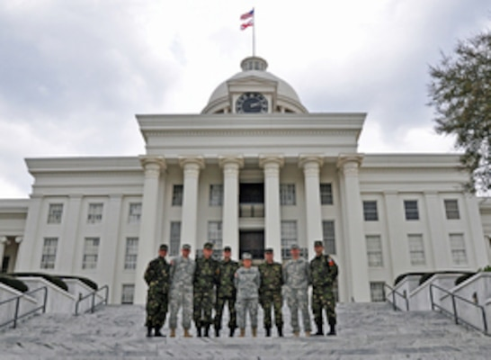 Alabama National Guard Soldiers and members of the Romanian Land Force pose in front of the Alabama Capitol building in Montgomery, Ala., Feb. 22, 2012. The Alabama National Guard and Romania have been partners for 19 years through the National Guard's State Partnership Program.