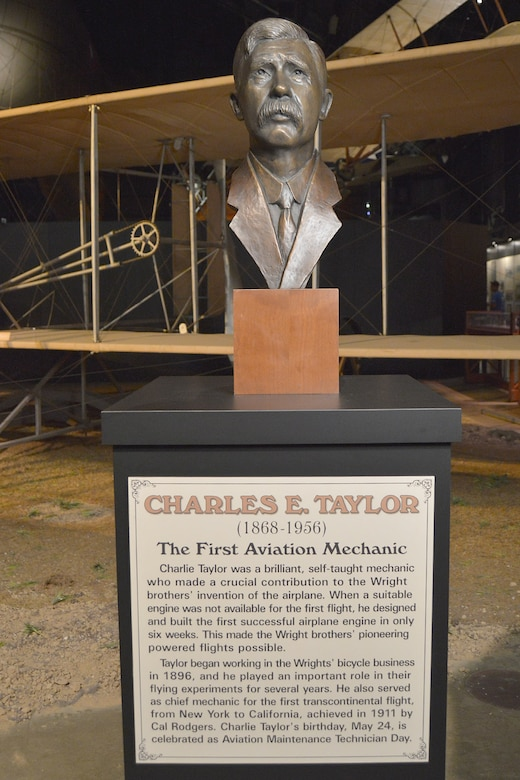Dayton, Ohio - A bronze bust honoring the first aviation mechanic, Charles E. Taylor, is now on permanent display in the National Museum of the U.S. Air Force's Early Years Gallery. (U.S. Air Force photo by Ken LaRock)