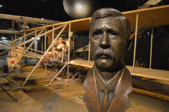 A bronze bust honoring the first aviation mechanic, Charles E. Taylor, is now on permanent display in the National Museum of the U.S. Air Force's Early Years Gallery. The museum is located near Dayton, Ohio. Taylor designed and built the engine that made the Wright brother's pioneering powered flights possible. (U.S. Air Force photo/Ken LaRock)