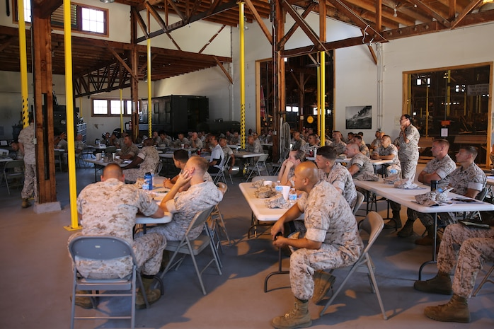 """Marines with 1st Marine Logistics Group and 1st Marine Expeditionary Force participate in a motor transportation conference aboard Camp Pendleton, Calif., July 10, 2014. The event provided its participants with a overview of the logistics and motor transportation side of the Marine Corps, and how the processes apply in a forward environment, where 1st MLG complements IMEF's expeditionary capabilities. In addition, the forum gave its participants a dynamic environment where they could communicate with each other freely and discuss current issues, improvements and solutions within the field of motor transport. """"It's important to keep everyone at all levels well-informed,"""" said 1st Lt. Dominic Svatos, motor transportation platoon commander with 7th Engineer Support Battalion, 1st MLG, and a Kansas City, Mo., native. """"The more junior NCOs can disseminate the information effectively to their platoons and the information can filter down to the lower levels, keeping them updated."""""""