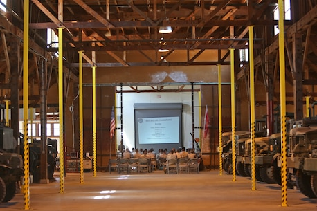 "Marines with 1st Marine Logistics Group and 1st Marine Expeditionary Force participate in a motor transportation conference aboard Camp Pendleton, Calif., July 10, 2014. The event provided its participants with a overview of the logistics and motor transportation side of the Marine Corps, and how the processes apply in a forward environment, where 1st MLG complements IMEF's expeditionary capabilities. In addition, the forum gave its participants a dynamic environment where they could communicate with each other freely and discuss current issues, improvements and solutions within the field of motor transport. ""It's important to keep everyone at all levels well-informed,"" said 1st Lt. Dominic Svatos, motor transportation platoon commander with 7th Engineer Support Battalion, 1st MLG, and a Kansas City, Mo., native. ""The more junior NCOs can disseminate the information effectively to their platoons and the information can filter down to the lower levels, keeping them updated."""