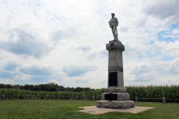 The New Jersey Monument on Monocacy National Battlefield. The first fighting of the battle took place at a farm near this location where Union troops held the approaches to the main bridge across the Monocacy River.