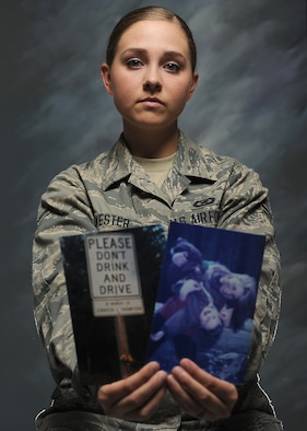 Airman 1st Class Madison Sylvester shares the story of how her first scar became her reason for never driving while under the influence of alcohol. Sylvester is a 319th Air Base Wing Public Affairs broadcaster. (U.S. Air Force photo/Senior Airman Xavier Navarro)