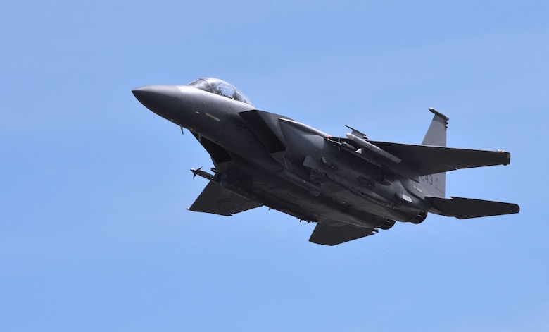 A 391st Fighter Squadron F-15E Strike Eagle takes off during a mission July 16, 2014, at Joint Base Pearl Harbor-Hickam, Hawaii. The 391st FS is currently on a two-month deployment here from Mountain Home Air Force Base, Idaho. While here, the squadron's F-15Es have participated in Rim of the Pacific 2014 exercise missions. RIMPAC is a U.S. Pacific Command-hosted biennial multinational maritime exercise designed to foster and sustain international cooperation on the security of the world's oceans. (U.S. Air Force photo by Staff Sgt. Alexander Martinez/Released)