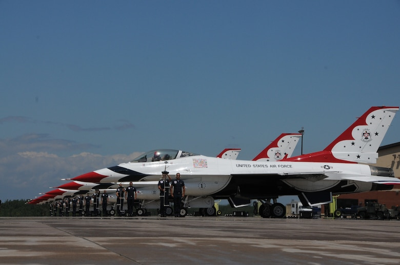 "U.S. Air Force Thunderbirds arrive at the 148th Fighter Wing, Duluth, Minn., July 13, 2014.  The Thunderbirds are in Minnesota to provide a ""flyover"" for the 2014 Major League Baseball All-Star game which is being held at Target Field, Minneapolis, Minn.  (U.S. Air National Guard photo by Master Sgt. Ralph J. Kapustka/Released)"