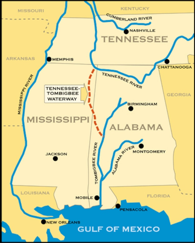 This map shows the Tennessee-Tombigbee (Tenn-Tom) Waterway, managed by the Mobile District U.S. Army Corps of Engineers. Mobile District is teaming up with Huntsville Center to improve the infrastructure along the waterway through the first-ever Energy Savings Performance Contract executed for a Corps Civil Works project.