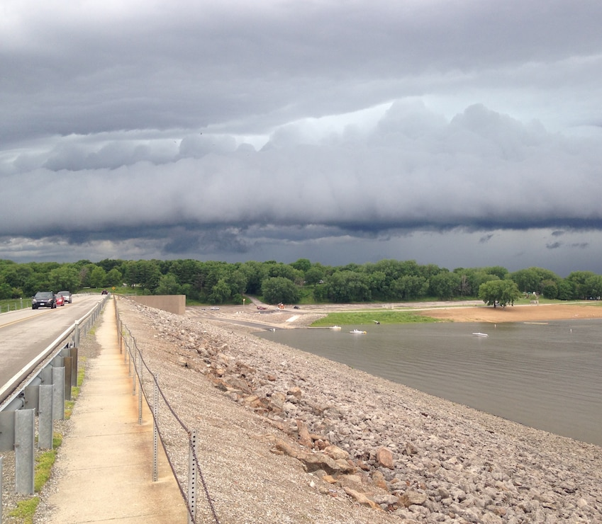View of a storm from on top of the dam at Coralville Lake in Coralville, Iowa.