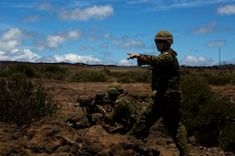 POHAKULOA TRAINING AREA, Hawaii - Soldiers with Princess Patricia's Canadian Light Infantry provide security and give orders during a live fire shoot, as part of Rim of the Pacific (RIMPAC) Exercise 2014, July 18. Twenty-two nations, more than 40 ships and submarines, about 200 aircraft and 25,000 personnel are participating in RIMPAC from June 26 to Aug. 1 in and around the Hawaiian Islands and Southern California. The world's largest international maritime exercise, RIMPAC provides a unique training opportunity that helps participants foster and sustain the cooperative relationships that are critical to ensuring the safety of sea lanes and security on the world's oceans. RIMPAC 2014 is the 24th exercise in the series that began in 1971. (U.S. Marine Corps photo by Cpl. Erik Estrada/Released)