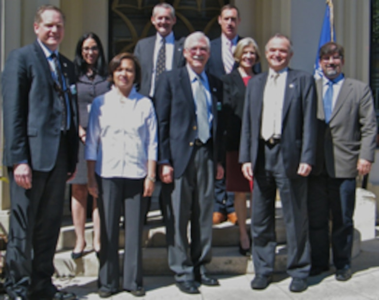 Department of Defense team at NATO-CSO, from left to right: Dr. Robb Wilcox (USAITC-A), Dr. Sandra Gomez & Lt. Col. Amanda Grieg (RFEC-A), Col. Chuck Helwig (NATO CSO Assistant Director, Ops and Coordination), Dr. Russell Harmon (ERDC-IRO), Lt. Col. Todd Kelly (CSO SCI Panel Executive), Dr. Patricia Gruber (ONR-G), René LaRose(Director NATO-CSO) and Dr. Gregg Abate (EOARD).