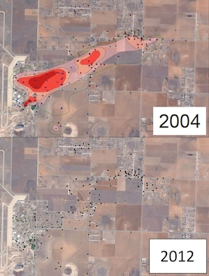 "At the former Reese Air Force Base near Lubbock, Texas, a three-mile underground stretch of environmental contamination, once called the ""Tower Plume,"" was reduced by more than 99 percent in less than 10 years using ""pump and treat"" technology, which pumps contaminated water from the aquifer and uses granulated carbon to remove the contamination, as well as enhanced in-situ biodegradation, a form of natural attenuation in which bacteria are stimulated to consume contaminants through the addition of a non-toxic compound such as molasses. (Air Force graphic)"