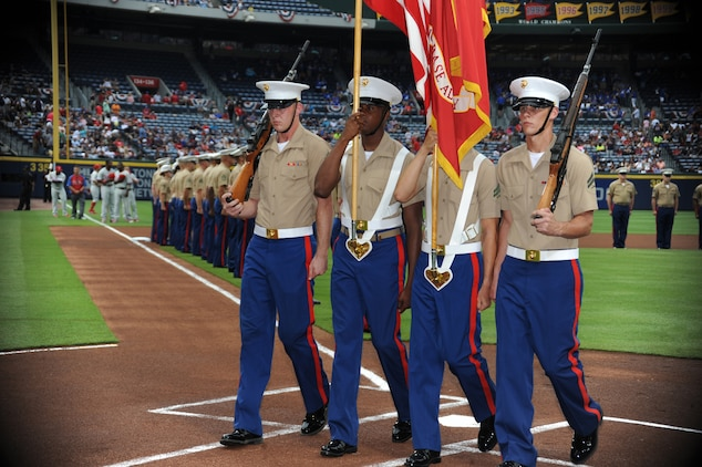 Marine Corps Logistics Base Albany's Color Guard detail presents colors during the Atlanta Braves' Marine Corps Appreciation Day game at Turner Field in Atlanta, Georgia, July 19.