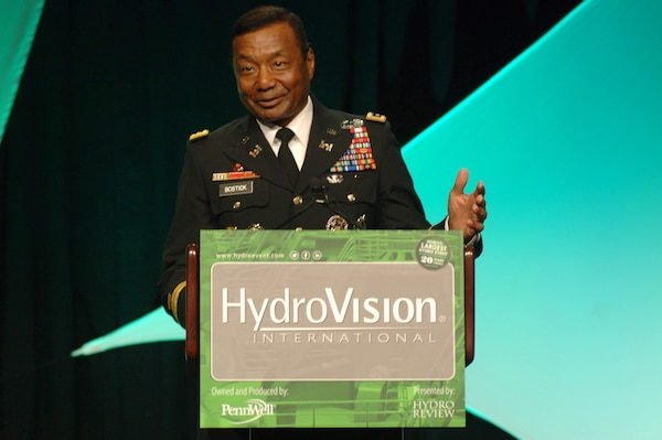 Lt. Gen. Thomas Bostick, U.S. Army Corps of Engineers commander and chief of engineers, speaks July 22, 2014 to more than 3,000 hydro experts from over 50 countries attending HydroVision International, the world's largest hydro event at Music City Center in Nashville, Tenn. (USACE photo by Leon Roberts)