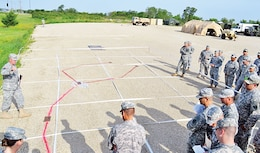 First Sust. Bde. Soldiers gather around a makeshift sand table during a Warfighter Exercise June 26 at Fort Riley. Warfighter was designed to evaluate the brigade staff on the military decision-making process and bring them together as a cohesive group to enhance their mission command capabilities.