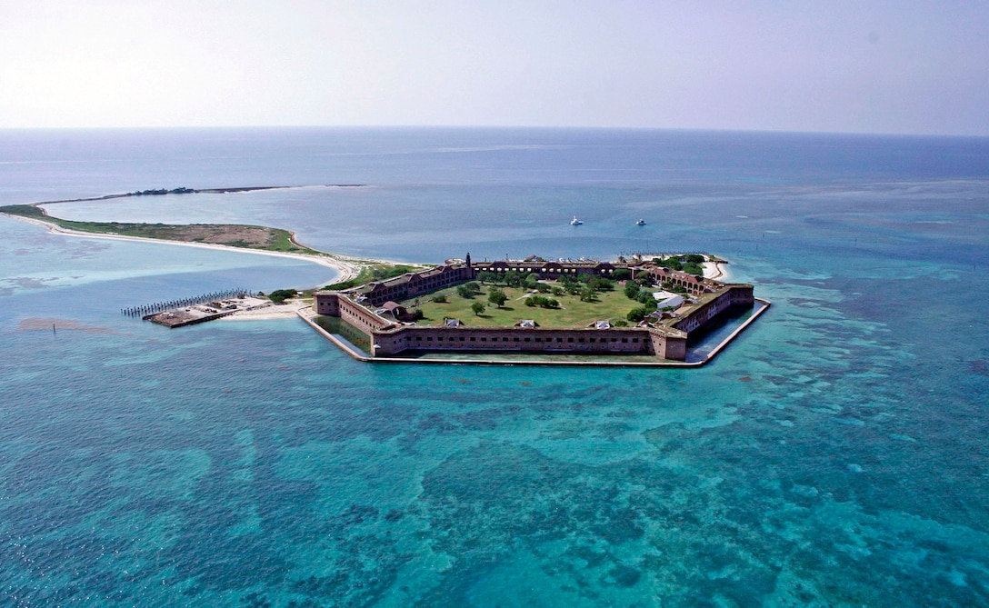 An aerial view of the Dry Tortugas National Park, Fla., as seen from a U.S. Customs and Border Protection Black Hawk UH-60 helicopter July 17. Members from CBP and the 482nd Fighter Wing ventured to the park to see 482nd Civil Engineers from Homestead Air Reserve Base, Fla., in action working to improve living conditions while accomplishing required military training. (U.S. Air Force photo/Maj. Brooke Cortez)