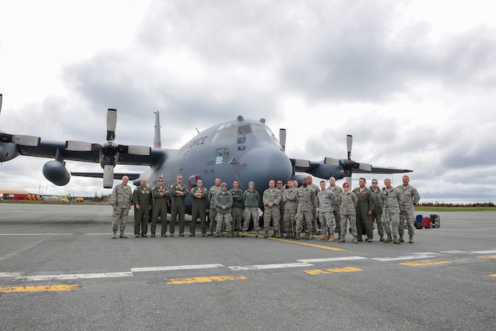 Airmen from the 165th Airlift Wing, Georgia Air National Guard, stop in St. Johns, Newfoundland, May 23, 2014 on their way to support the 70th Anniversary D-Day ceremony in Normandy, France. (U.S. Air National Guard photo by Master Sgt. Charles Delano/released)