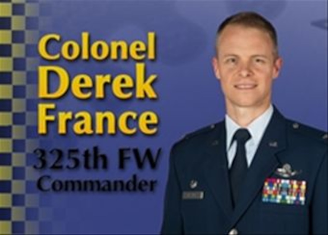 Colonel Derek C. France, 325th Fighter Wing commander