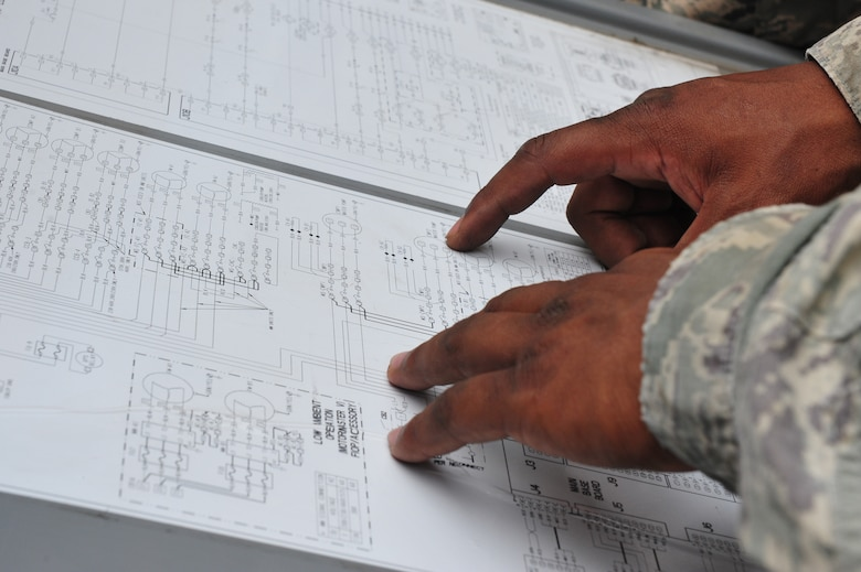 Staff Sgt. Chaddrick Webb, 8th Civil Engineer Squadron Heating, Ventilation, Air Conditioning and Refrigeration shop craftsman, deciphers an Aquasnap low voltage control schematic while responding to a work order at Kunsan Air Base, Republic of Korea, July 23, 2014. The schematic provides details on the sequence of operations for the air handler unit it is attached to, which Webb used to determine why a particular circuit was not running. (U.S. Air Force photo by 1st Lt. Earon Brown/Released)