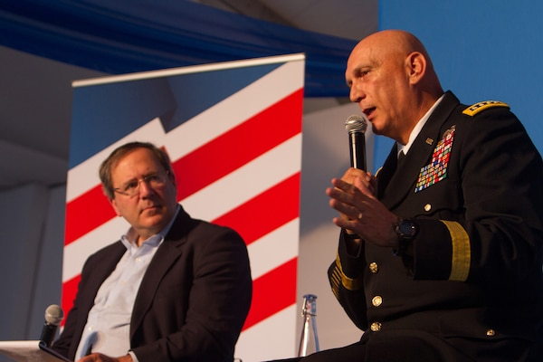David Sanger, chief Washington correspondent for the New York Times, listens as Army Chief of Staff Gen. Ray Odierno responds to a question at the Aspen Security Forum in Aspen Colo., July 23, 2014. U.S. Army photo by Staff Sgt. Mikki L. Sprenkle