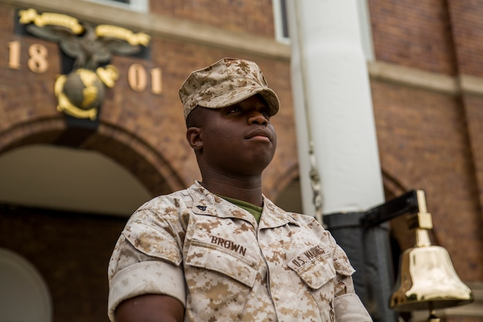 Cpl. Andre Brown, Marine Barracks Washington, D.C. administrative clerk, dreams of teaching high school history after he leaves the Marine Corps. For now, he is allowing the Corps to shape him into a leader for his future career. (Official Marine Corps photo by Cpl. Dan Hosack/Released)