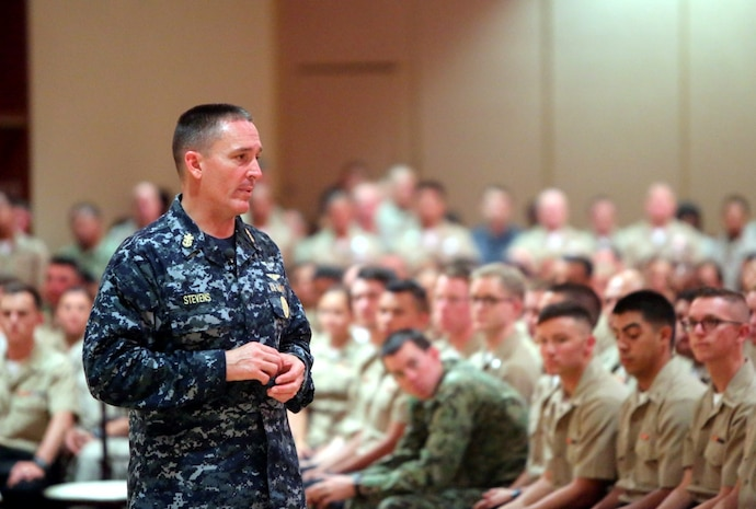Master Chief Petty Officer of the Navy, Mike Stevens, visited with sailors aboard Marine Corps Base Camp Pendleton, Calif., July 18, 2014. During his visit Stevens took open questions from sailors to see what they were most concerned about.