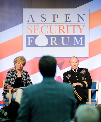 Army Gen. Martin E. Dempsey, chairman of the Joint Chiefs of Staff, and moderator Lesley Stahl of CBS News listen as an audience member asks a question during the Aspen Security Forum in Aspen, Colo., July 24, 2014. DoD photo by Army Staff Sgt. Sean K. Harp