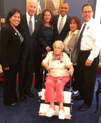 Lucy Coffey, a 108-year-old World War II Army veteran, traveled from San Antonio to Washington, D.C., for a visit with President Barack Obama and Vice President Joe Biden at the White House, July 25, 2014. Courtesy photo