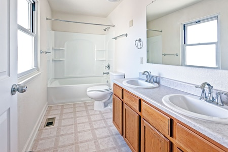 The town houses in McClellan Place, Warner Peterson and Colyer Forsyth were built in the 1970s and have undergone extensive renovations by Corvias Military Living. This is an example of a renovated full bathroom. Renovations of more than 600 town houses were completed in April 2014.