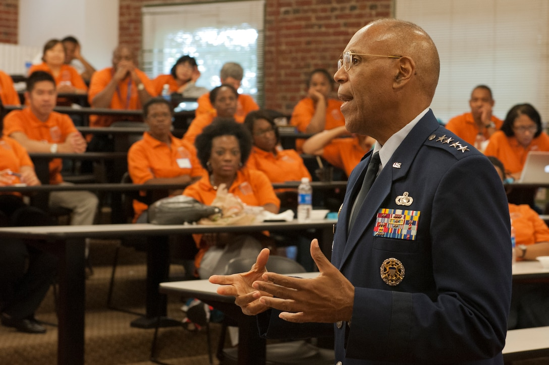 Air Force Vice Chief of Staff Gen. Larry O. Spencer speaks to middle school educators from the Washington, D.C. area July 18, 2014, during the AMS Materials Camp at Shaw-Howard University. Spencer expressed educators are a main line of defense to inspire youth in science, technology, engineering and math careers. (U.S. Air Force photo/Staff Sgt. Carlin Leslie)