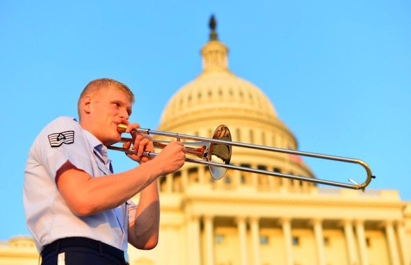 TSgt Kevin Cerovich warms up at the United States Capitol minutes before an Airmen of Note concert on July 29. (US Air Force photo by SMSgt Kevin Burns/released).