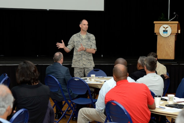 Col. Dale Holland, Academy vice commandant, shared the Academy's take on character and leadership development with federal law enforcement executives Tuesday at Arnold Hall to inspire them to lead and lift others and enhance mission success. (U.S. Air Force photo/Jason Gutierrez)