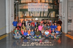 More than 60 youth participated in this year's Job Shadow Day at Arnold Engineering Development Complex (AEDC). Pictured is the group visiting the Mark I Space Chamber during their tour of the base.