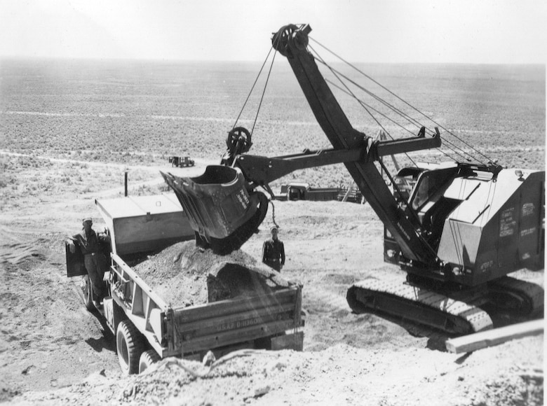 Aviation engineers of the 882nd Aviation Engineer Battalion operate heavy equipment as they work on the Gowen Field infrastructure some distance south of the main base in annual training of June, 1954.  The battalion's Company C was from Portland, Ore.  (Courtesy 142FW History Archives)