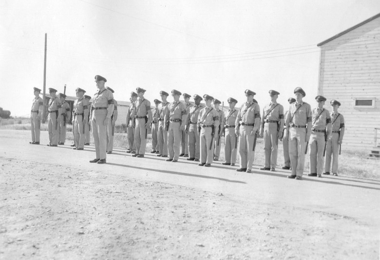 Air Policemen of the 142nd Air Police Squadron muster at Gowen Field, June 18, 1954 (Courtesy 142FW History Archives)