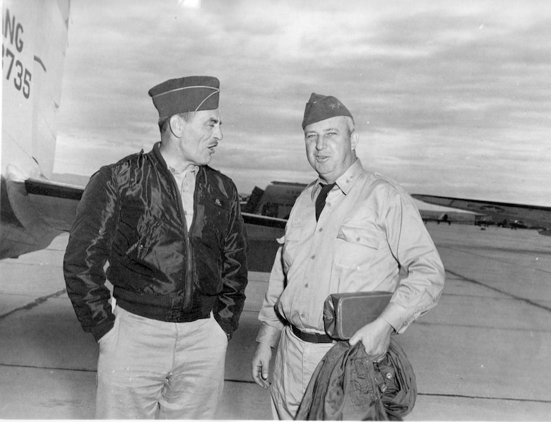 Brig. Gen. G. Robert Dodson, OreANG Commander, chats with an unidentified Major General, probably a visiting Adjutant General from a western state, on the ramp at Gowen Field,  June 15, 1954. (Courtesy 142FW History Archives)