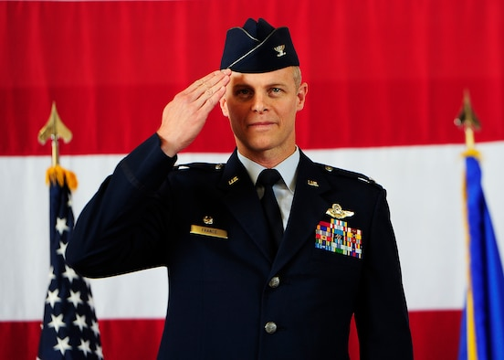 Colonel Derek France, 325th Fighter Wing commander salutes during the 325th FW change of command ceremony, July 24 at Tyndall.(U.S. Air Force photo by Technical Sgt. Javier Cruz/Released)
