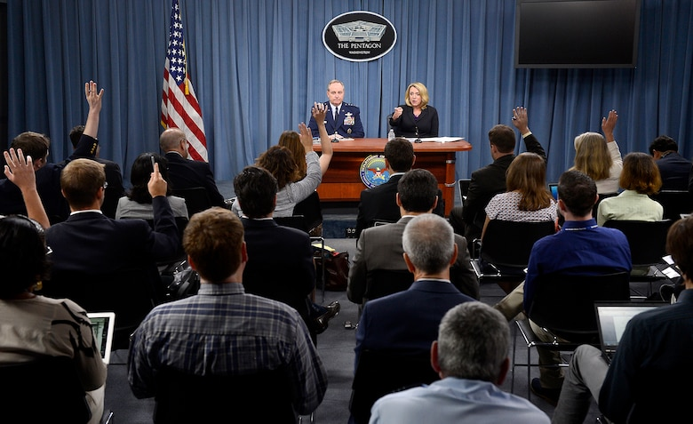 """Secretary of the Air Force Deborah Lee James and Air Force Chief of Staff Gen. Mark A. Welsh III deliver their """"State of the Air Force"""" message during a Pentagon press conference July 30, 2014. They unveiled the Air Force's strategy, """"America's Air Force: A call to the Future."""" (U.S. Air Force photo/Scott M. Ash)"""