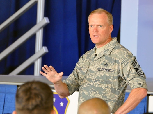 Chief Master Sgt of the Air Force James A. Cody, addressed Team March Airmen during a July 12, 2014 visit to March Field. CMSAF Cody and his wife, Athena, spent three days at the Southern California Air Reserve Base where they met with Airmen and observed the success of Total Force Integration there. (U.S. Air Force photo/Master Sgt. Linda Welz)