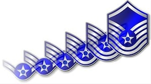 Airman to Master Sergeant progression of enlisted ranks. (U.S. Air Force graphic)