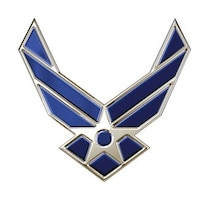 Air Force symbol, blue chrome. The Air Force Symbol is a registered trademark (No. 2,767,190) of the USAF. Permission to use it for commercial use and advertising (free or paid) is required. The use of this trademark for commercial purposes, including reproduction on merchandise, is expressly prohibited unless the producer has a fully executed license agreement with the Air Force. Use is governed by the terms of the agreement. Click here to download the licensing application. For more information contact the Air Force Trademark Licensing office at 210.395.1787 or email afpaa.hq.tl@us.af.mil. For restrictions on use of Air Force Symbol visit here.