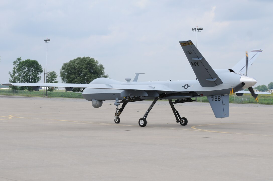 A Syracuse Air National Guard MQ-9 taxis around the upper ramp at Hancock Field Air National Guard Base. The taxi was part of a plan that may see the MQ-9 taxiing to and from Hancock Field in the future. (New York Air National Guard Photo By Senior Airman Duane Morgan)