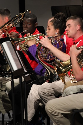 Members of Marine Corps Band Quantico perform with students from Elyria High School May 17, 2014. The band was in the Cleveland area after performing at the Cleveland International Tattoo and took an opportunity to visit local high schools to perform with them, offer advice and answer any questions about the life and experiences of a member in a Marine Corps band. (U.S. Marine Corps photo by Sgt. T.M. Stewman/Released)