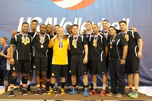 2014 Armed Forces Gold Medalists, Army Men.  From left to right:  SGT John Taitin (AR-HI); SSG Leifitele Mamea (Vilseck, Germany); SFC Eric Latson (JB Lewis-McChord, WA); SPC Derrick Clark (Ft. Carson, CO); PFC Benjamin Lee (ARNG-MO); SSG Garrett Ferguson (Ft. Meade, MD); 1LT David Lloyd (AR-MD); SGT William (Jose) Narvaez-Morales (JB Lewis-McChord, WA); CPT Joshua Waldron (Carlisle Barracks, PA); SGT Ramon Diaz (Ft. Carson, CO); CPT William Lincoln (Ft. Bragg, NC); Head Coach SGT Angel Rivera (AR-WI); SGT Joe Rossetter (AR-OH).