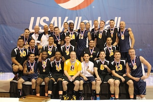 Army and Navy men after taking Armed Forces gold and silver respectively at the 2014 Armed Forces Volleyball Championship held in conjunction with the 2014 USA Volleyball National Championship 26-28 May in Phoenix, AZ