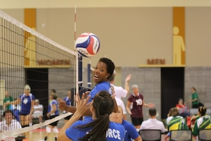 SSgt Shermika Harris (JB Langley-Eustis, VA) getting ready for the spike